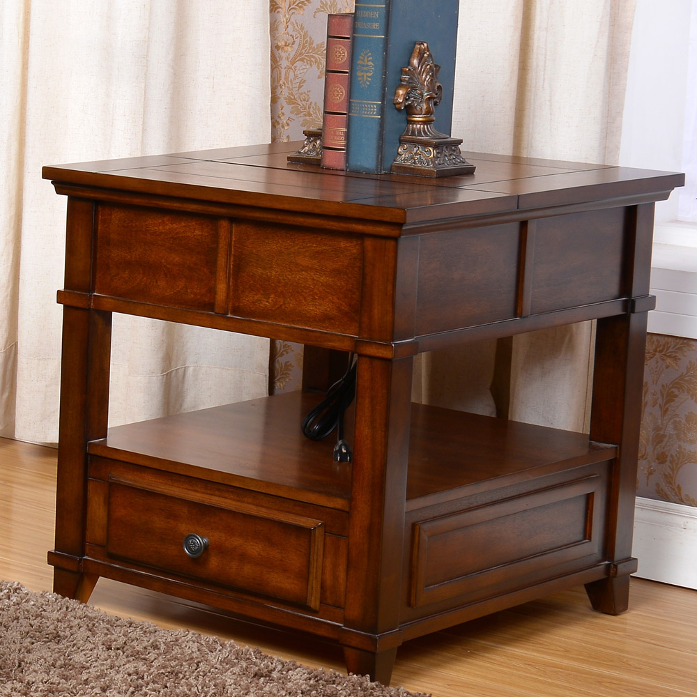 Lynch Living Room Lift Top End Side Snack Table Storage Drawers Wood In Cherr