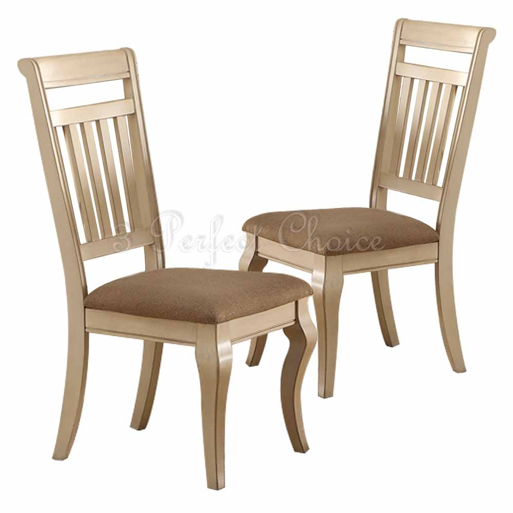 cream upholstered chair set of 2 formal dining side chairs medium wood trimmed 13626 | PDEX F1447