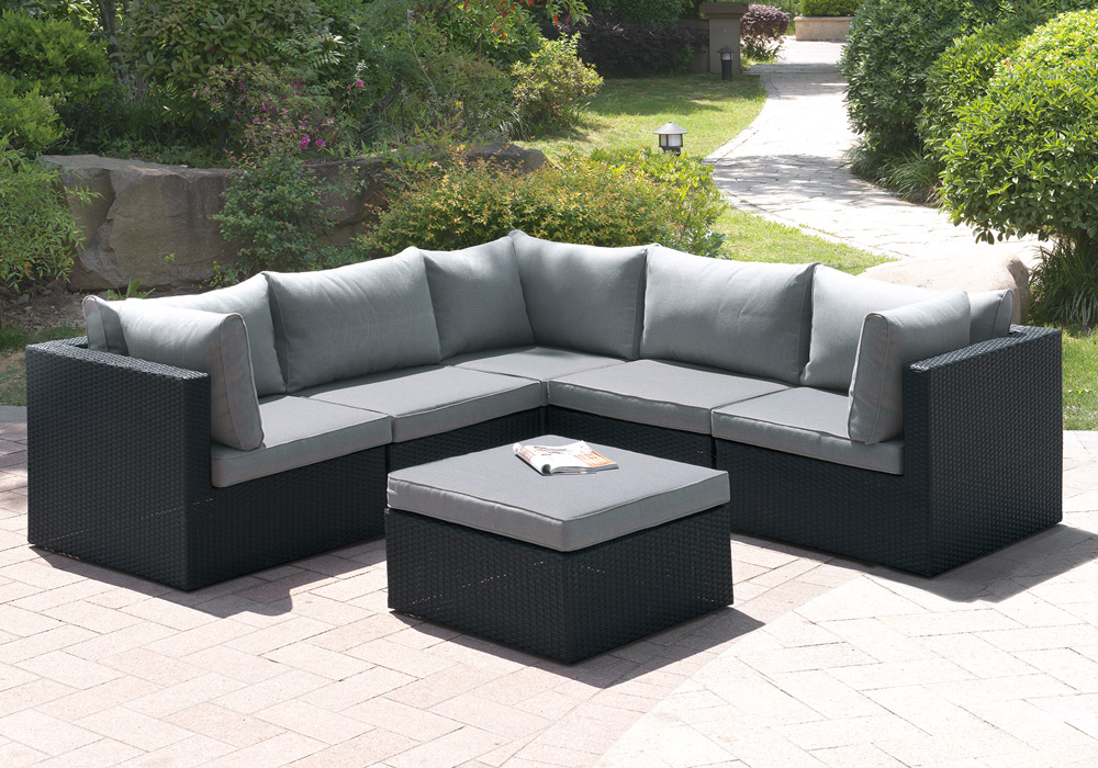 6 pcs Outdoor Patio Pool L-Shaped Sectional Sofa Set ... on Outdoor Loveseat Sets id=48873