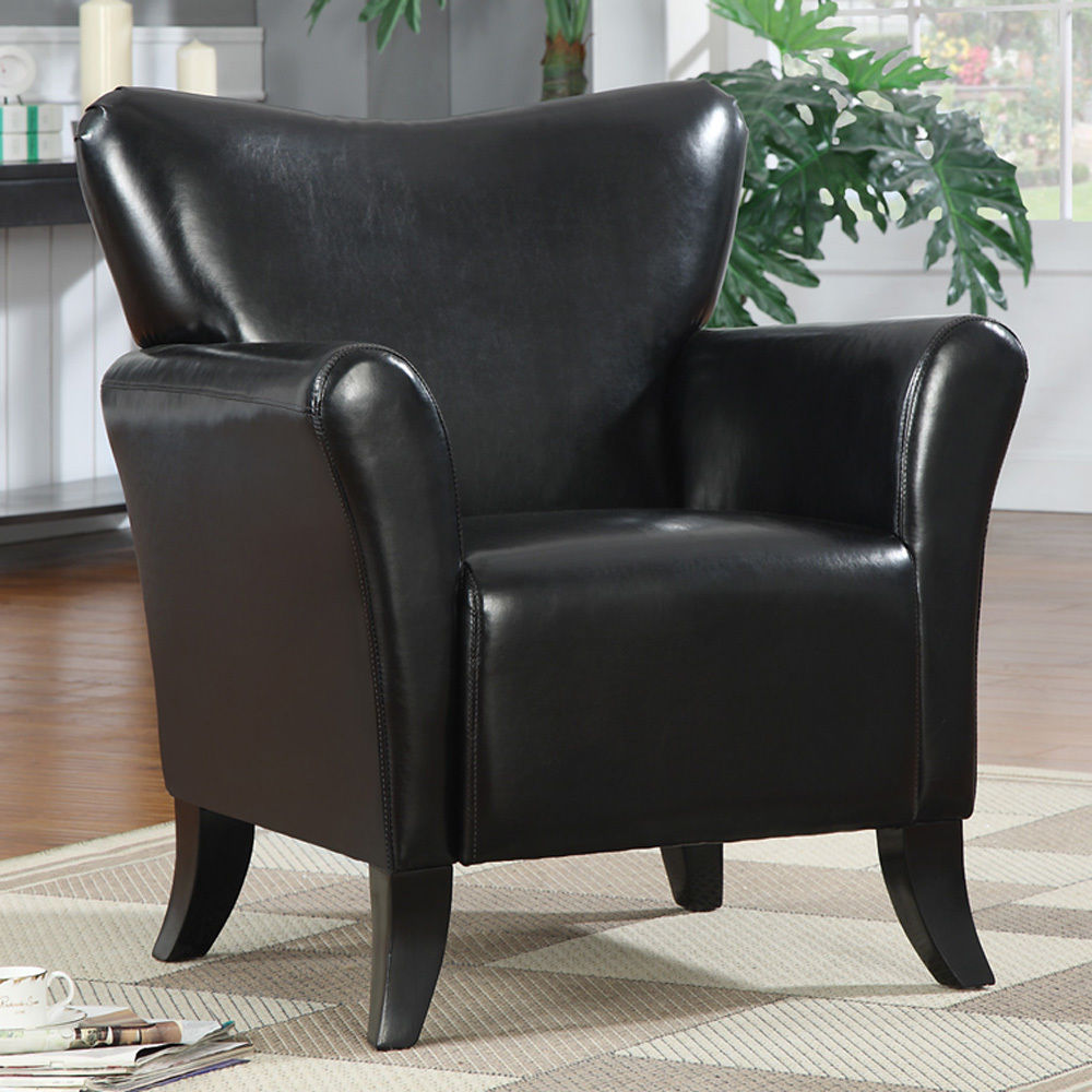 black leather occasional chair living black leather like vinyl stationary accent arm 11215 | CO 900253
